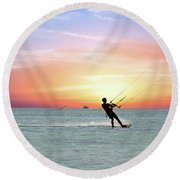 Watersport On Thecaribbean Sea At Aruba Island At Sunset Round Beach Towel