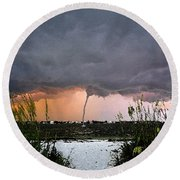 Waterspout Over Pass A Grill Round Beach Towel