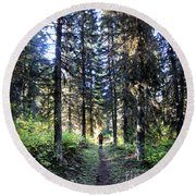 Waterton Valley Trail Detail - Glacier National Park Round Beach Towel
