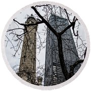 Watertower Chicago Round Beach Towel