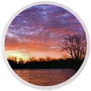 Waterville Sunrise Panorama 0002 0003 Signed Round Beach Towel