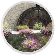 Waterwheel In Bayeux Round Beach Towel