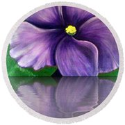 Watery African Violet Reflection Round Beach Towel