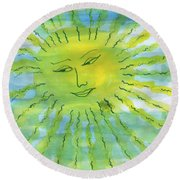 Watery Sunshine Round Beach Towel