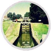10945 Watford Locks On The Grand Union Canal Round Beach Towel