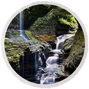 Watkins Glen Rainbow Falls Round Beach Towel