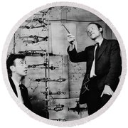 Watson And Crick Round Beach Towel by A Barrington Brown and Photo Researchers