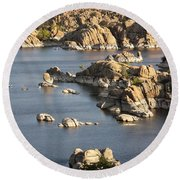 Watson Lake Adventures Round Beach Towel