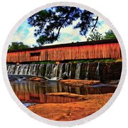 Watson Mill Covered Bridge 042 Round Beach Towel