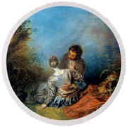 Watteau: False Step, C1717 Round Beach Towel