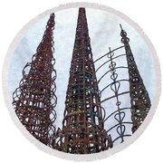 Watts Towers 2 - Los Angeles Round Beach Towel