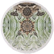 Wave And Jewels Round Beach Towel