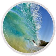 Wave Breaking At Makena Round Beach Towel