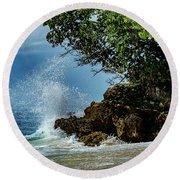 Wave Crashing Punta Cana Round Beach Towel