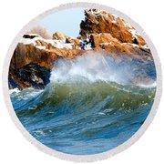 Wave Mirrors Rock Round Beach Towel