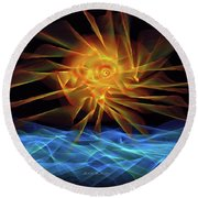 Wave Of Light Round Beach Towel