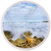 Wave Splash Round Beach Towel by Gary Gillette