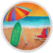 Wave Watch Round Beach Towel