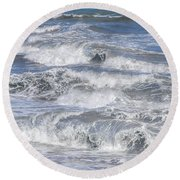 Waves 1 Round Beach Towel