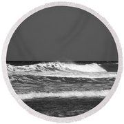 Waves 2 In Bw Round Beach Towel