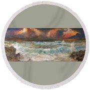 Waves 3  Round Beach Towel