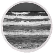 Waves 3 In Bw Round Beach Towel