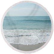 Waves And Assateague Beach Round Beach Towel