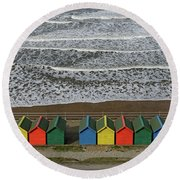 Waves And Beach Huts - Whitby Round Beach Towel