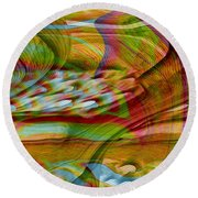 Waves And Patterns Round Beach Towel