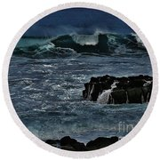 Waves And Wind Round Beach Towel