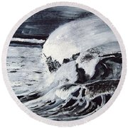Waves At Night Round Beach Towel