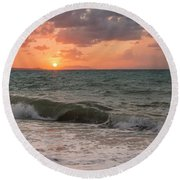 Waves At Sunset  Round Beach Towel