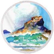 Waves Bursting On Rocks Round Beach Towel