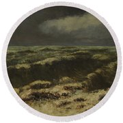 waves by Gustave Courbet Round Beach Towel