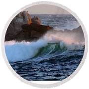 Waves Crash Against The Rocks Round Beach Towel