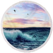Waves Crashing At Sunset Round Beach Towel
