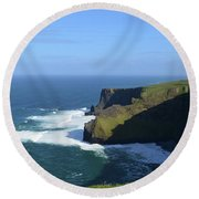 Waves From Galway Bay Crashing Against The Cliff's Of Moher Round Beach Towel