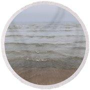 Waves In Fog Round Beach Towel