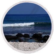 Waves In Paradise Round Beach Towel