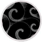 Waves Inverted In Black And White Round Beach Towel