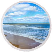 Waves Lapping On Beach 3 Round Beach Towel