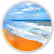 Waves Lapping On Beach 8 Round Beach Towel