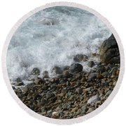 Waves Meet Pebbles Round Beach Towel