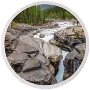 Waves Of ... Granite At Mistaya Canyon, Canada Round Beach Towel