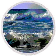 Waves Of Delight Round Beach Towel