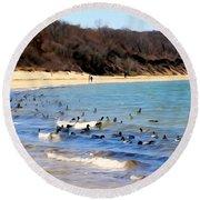 Waves Of Ducks Round Beach Towel