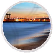 Waves Of Industry - Gulfport Mississippi - Sunset Round Beach Towel