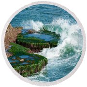 Waves Of La Jolla Round Beach Towel