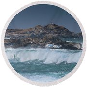 Waves On A Cloudy Day Round Beach Towel