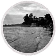 Waves On The Ganges Round Beach Towel